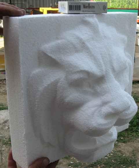 Голова льва из пенопласта - получена на фрезерной балке